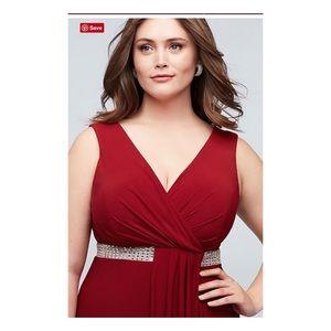 Morgan & Co. Faux Wrap Pleated Plus Size Dress